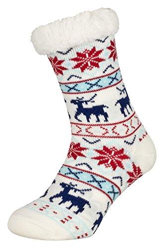 Tobeni 1 Paar Damen Hüttensocken ABS Socken Kuschelsocken mit Anti-Rutsch Noppen Sohle Grösse One Size Farbe Deer Weiss