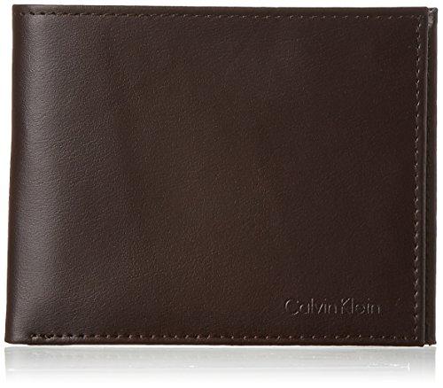 Calvin Klein Men's RFID Blocking Leather Bifold Wallet, Passcase Brown, One Size