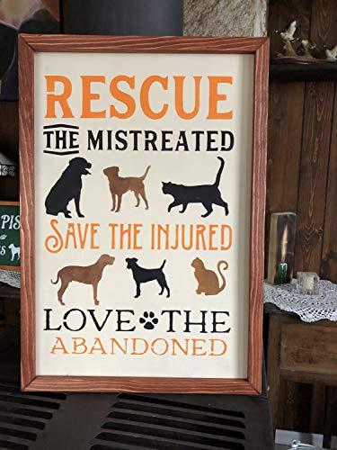 Free Brand Cartel decorativo de madera para rescate a los maltratados, salvar a los heridos, amor al abandonado, rescate de animales, regalo para rescatadores de perros, refugios de animales