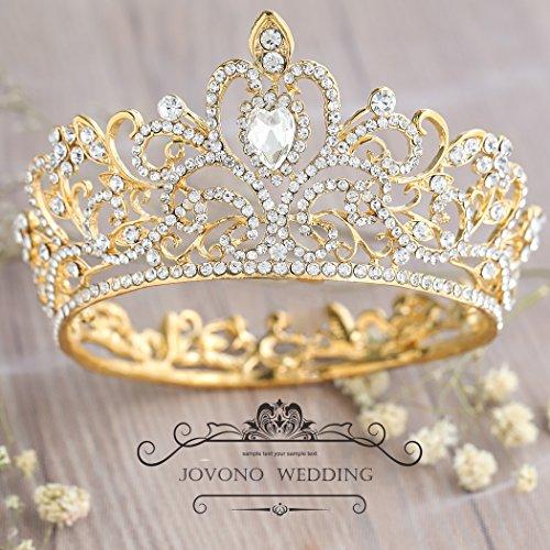 Corona de cristal vintage para mujer con diamantes de imitación, tiara de boda, accesorio para el cabello (tamaño pequeño), de Jovono.