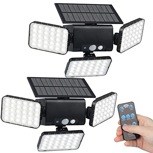 efiealls Solar Lights Outdoor, 3 Head Remote Solar Security Lights Outdoor, 90 LEDs 360° Solar Flood Lights with Remote Control & 3 Lighting Modes for Porch Garden Patio Garage Yard Path, 2 Pack