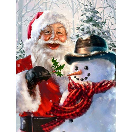 QGWMCD DIY 5D Diamond Painting Snowman Santa Full Drill Painting Rhinestone Embroidery Pictures Cross Stitch Arts Crafts for Home Wall Decor 11.8 inchx15.7 inch (Frameless)