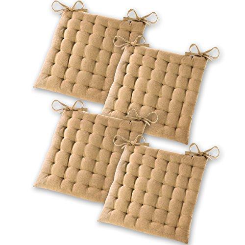 Gräfenstayn® Set de 4 Cojines, Cojines para Silla de 40 x 40 x 5 cm para Interior y Exterior de 100% algodón Acolchado Grueso/cojín para el Suelo (Beis)