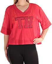 Tommy Hilfiger Womens Varsity Crop Fitness Pullover Top Red M