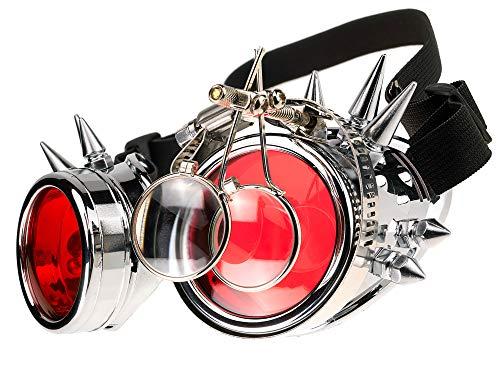 MFAZ Morefaz Ltd Welding Cyber Goggles Schutzbrille Schweißen Sonnenbrille Steampunk Goth Round Cosplay Brille Party Fancy Dress (Silver Spikes Loupe)