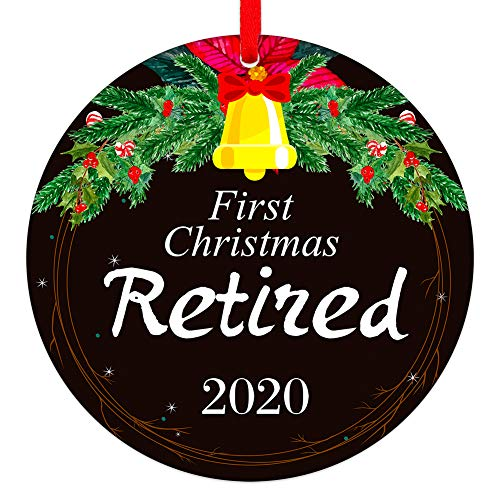 "WhatSign First Christmas Retired Ornaments 2020 Retirement Christmas Tree Ornaments Decorations 3"" Round Christmas Hanging Ornaments Gifts for Women Men Friends"