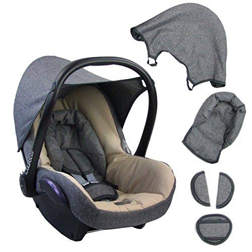 BAMBINIWELT Ersatzbezug für Maxi-Cosi CabrioFix 6-tlg. GRAU/BEIGE, Bezug für Babyschale, Komplett-Set XX