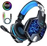 YINSAN PS4 Headset Gaming Kopfhörer für Xbox One, 7 LED Leuchten Stereo Surround Sound Soft Memory...
