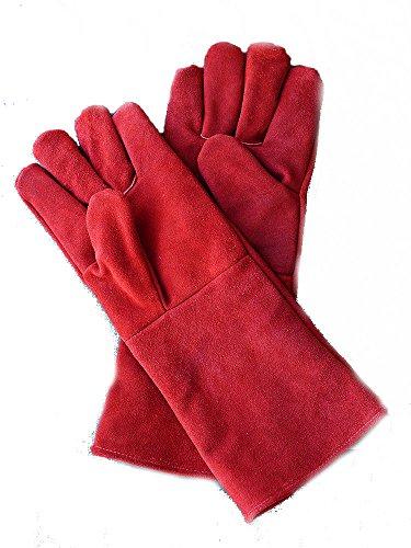 Lederen hittebestendige handschoenen log brander, ovens BBQ, kan worden gePERSONALISEERD No Personalisation