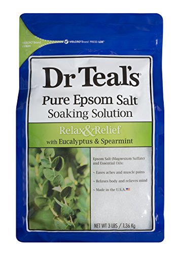 Dr Teal's Epsom Salt Soaking Solution, Relax & Relief, Eucalyptus and Spearmint, 3lbs