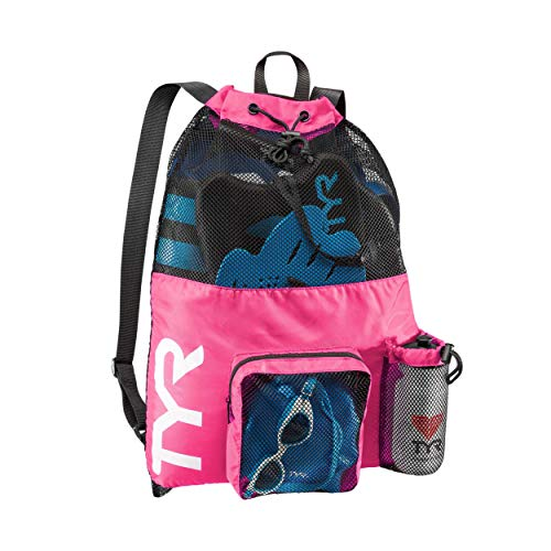 TYR Big Mesh Mummy Backpack For Wet Swimming, Gym, and Workout Gear , Pink