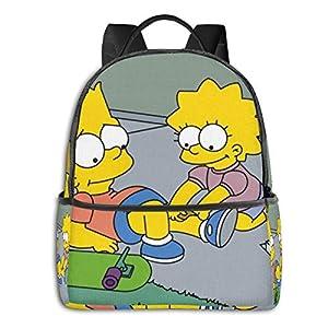 510gjMnSB0L. SS300  - The Simpsons Mochila de estudiante unisex estampada de dibujos animados para la escuela universitaria 14,5 x 12 x 5…