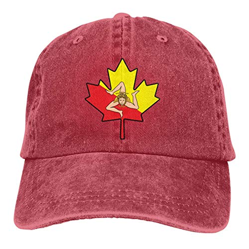 Baseballmütze für Männer Frauen, Sizilien Flagge Kanada Ahornblatt-1 Unisex...