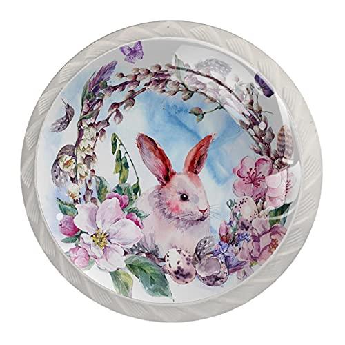 Tirador de cajón tirador de cristal redondo Perillas del gabinete Manija del gabinete de cocina,llave de conejo