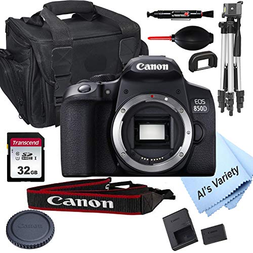 Canon EOS 850D (Rebel T8i) DSLR Camera Body Only (No Lens) + 32GB Card, Tripod, Case, and More (15pc Bundle)