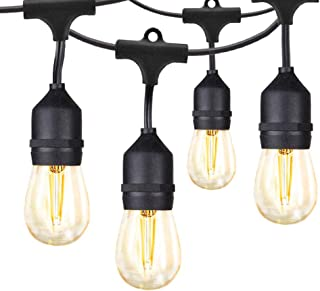 Banord LED Outdoor String Lights, 48FT Patio Lights with 2W Dimmable Edison Vintage Plastic Bulbs and Commercial Grade Weatherproof Strand - UL Listed Heavy-Duty Café Lights, Porch Market Lights