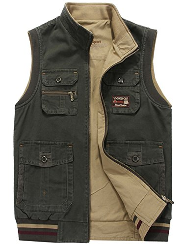 RUIYUNS Herren Weste Outdoor Sport Weste Mit Vielen Taschen. Große Größen in guter Qualität aus 100% Baumwolle (Armee Grün 85, EU...