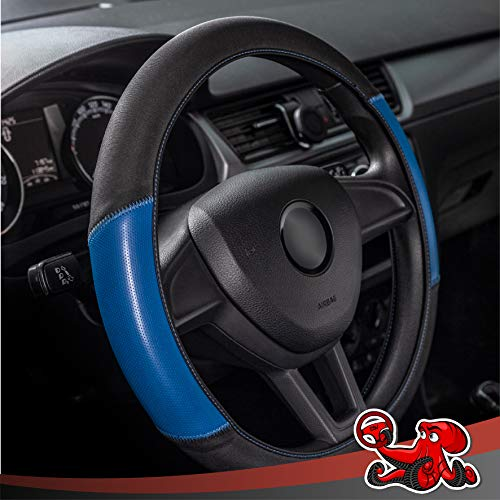 DSV Standard Universal Washable Elastic Stretch Car Steering Wheel Cover-Anti-Slip, High Grip, Sweat Absorption, Breathable-Performance Neoprene Car/Truck/SUV Steering Wheel Wrap (15-Inch,Black/Blue)