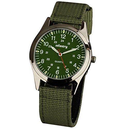 Infantry Herren Uhr Armbanduhr Männer Uhren Analog Militär Outdoor Herrenarmbanduhr Grün Taktische Arbeitsuhr Leuchtende mit Nylonband