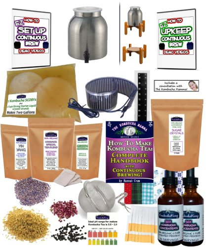 KKamp Continuous Brew Kombucha DELUXE PACKAGE - Stainless Steel w/Wood Stand + Essential Heat Strip