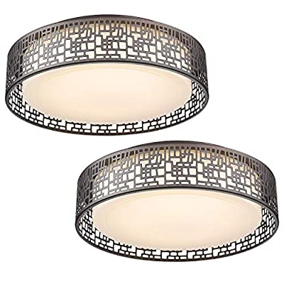 Light Fixtures Ceiling Pack of 2-VICNIE 14 inch 20W 1400 lumens Round LED Flush Mount Lighting Oil Rubbed Bronze Fihished for Bedroom Kitchen Hallway with Metal Body and Acrylic Shade