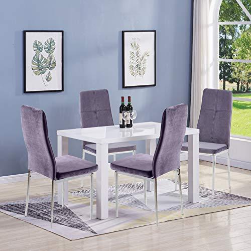 GOLDFAN Esstisch mit 4 Stühlen Esstisch Holz Moderner Esstisch Hochglanz Rechteckiger Küchen Tisch Esszimmerstuhl aus Stoff Mit Metallbeinen, Weiß& Grau