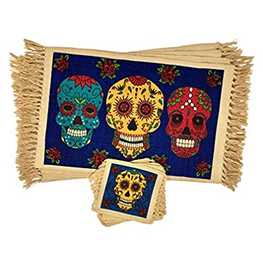 SpiritFest Sugar Skull Placemats & Coasters: Set of 8 Day of the Dead Kitchen & Dining Table Decor (Blue Calaveras)