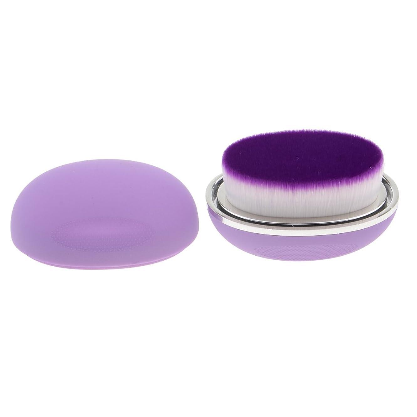 垂直スティック堂々たるPerfk ファンデーションブラシ メイクアップブラシ 柔らかい 卵形 高品質 プロ 初心者用 便利 全5色 - 紫