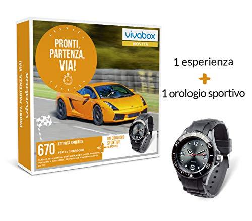 VIVABOX Cofanetto Regalo per Lui - Pronti, PARTENZA, Via! - 670 ATTIVITA' Sportive per 1 O 2 Persone + 1 Orologio Sportivo