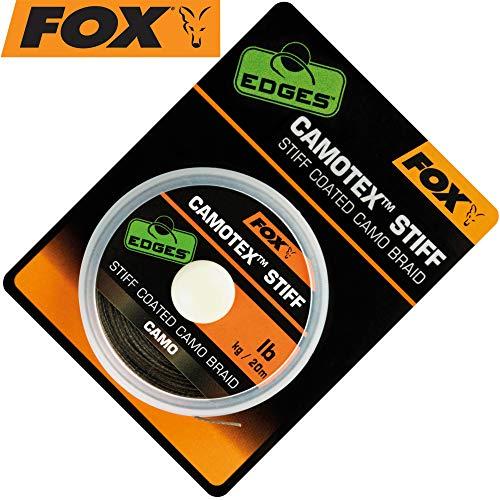 Fox Camotex Stiff Coated Camo Braid 20m - Vorfachmaterial für Karpfenmontagen, Vorfachschnur zum Karpfenangeln, Karpfenschnur, Tragkraft:25lbs/11.4kg