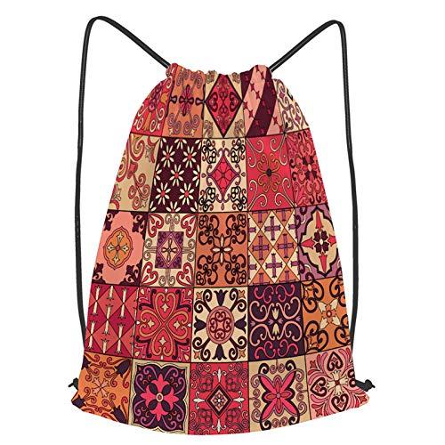 fudin Impermeable Bolsa de Cuerdas Saco de Gimnasio patrón sin costuras azulejos portugueses estilo talavera Deporte Mochila para Playa Viaje Natación