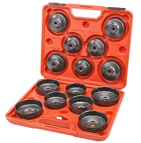 JOMAFA - Juego de llaves para filtros de aceite Llaves para quitar filtros de aceite de coche 15 piezas