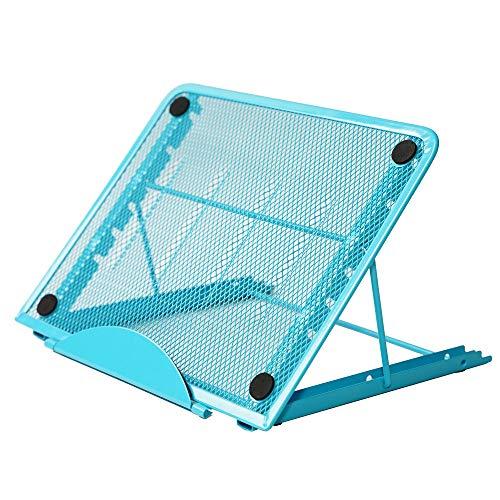Hennaja Laptop Tablet Stand, Foldable Portable Ventilated Desktop Laptop Holder, Universal Lightweight Adjustable Ergonomic Tray Cooling(1 Pack,1-Blue)
