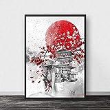 Tinta Zen Japonesa Bonsa Bushido Samurai Carteles E Impresiones Lienzo Arte Pintura Cuadros De Pared para Decoración De Sala De Estar Cuadro En Lienzo Sin Marco 50X70Cm -A1839