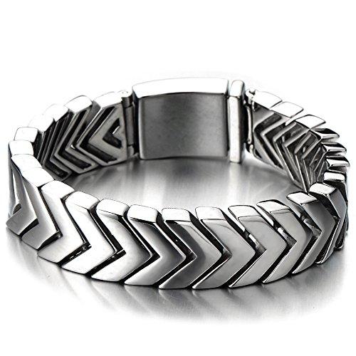 COOLSTEELANDBEYOND Modernes Design Gliederarmband Herren-Armband aus Edelstahl Farbe Silber Hochglanz Poliert