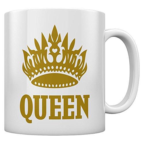 Tasse im Queen Desing mit goldener Krone Kaffeetasse Tee Tasse Becher 11 Oz. Weiß