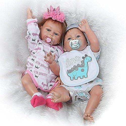 iCradle Reborn Baby Doll 20 Zoll 50cm ilikon Ganz  Silikon Baby Puppe Weiße Reborn Babypuppe Look Echte Nette Lebensechte Baby Doll Toddler Junge (Twins)