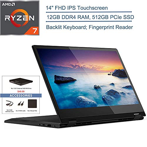 "2020 Lenovo Flex 14 2-in-1 14"" FHD Touchscreen Laptop Computer, AMD Ryzen 7 3700U Quad-Core (Beat i7-8565U), 12GB DDR4 RAM, 512GB PCIE SSD, Backlit Keyboard, Windows 10, EST External DVD + Accessories"