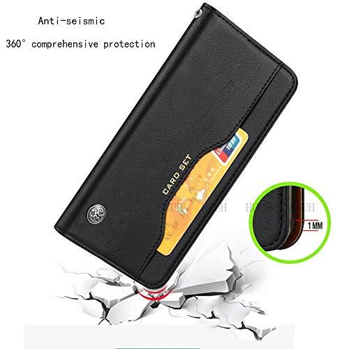 HUUH Hülle für Huawei P40 Pro,Handyhülle Vintage Leder,Bracket-Funktion,Kartensteckplatz Brieftasche Design,Hochwertiges PU-Leder,Magnetschnalle(schwarz) - 2