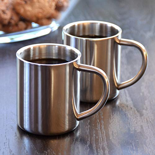 Novaliv 2X Edelstahl Becher I 200 ml I doppelwandig I Kaffeebecher Camping Tasse Metallbecher Kaffeetasse Thermotasse