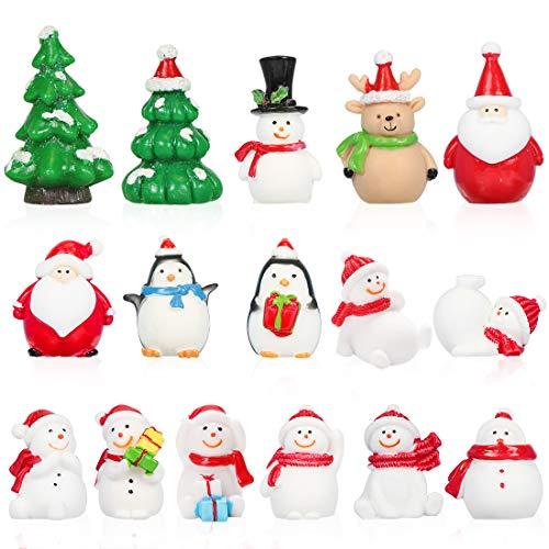 Bluelves Christmas Miniature Figurine Ornament, 16pcs Mini Christmas Figures, Resin Miniature Xmas Tree Snowman Santa Claus Reindeer Figurines Ornaments for DIY Fairy Garden Dollhouse Decoration