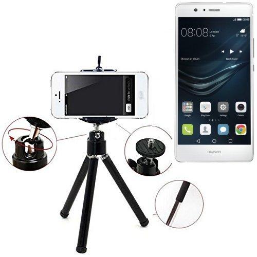 Smartphone Tripod / basamento mobile / cavalletto come per Huawei P9 Lite Dual Sim. Alluminio Treppiede / treppiede con supporto del telefono mobile, universale per tutti gli smartphone e fotocamere comuni. Colore nero. Cavalletto flessibile adattatore per asta