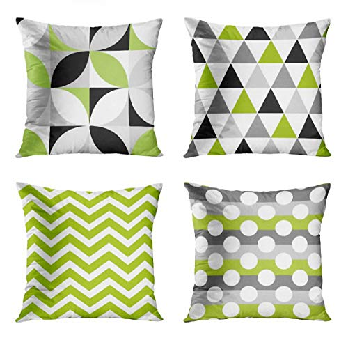 ArtSocket Set of 4 Throw Pillow Covers Green Black Lime Mosaic Pattern Gray Grey White Retro Triangles on Geometric Decorative Pillow Cases Home Decor Square 18x18 Inches Pillowcases