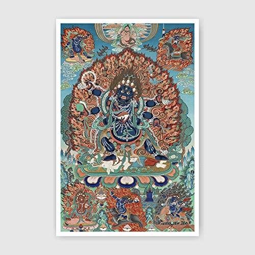 ALIUJUNAMZ Thangka Stickerei Buddha in Tibet Kein Bilderrahmen Südostasiatisches Zuhause dekorative Malerei (Color : 01, Size (Inch) : 48x73cm No Frame)