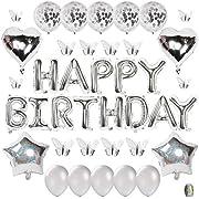 CHANGZHONG Geburtstagsdeko Silber Happy Birthday Girlande Ballons 3D Schmetterlinge Wanddeko, Silber Geburtstag Deko Set für Mädchen Jungen Frauen Männer Party Geburtstag