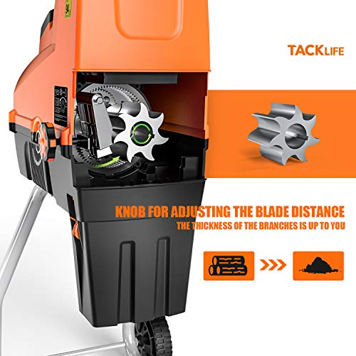 TACKLIFE Electric Wood Chipper, Garden Shredder, Silent Wood Shredder, 15Amp Power, Max 1.77-Inch Cutting Capacity, 60L Collection Sac, Quiet Motor, Adjustable Cutting Blad