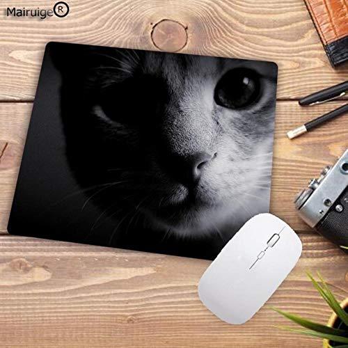 Ningc Gran promoción Cat Green Eyes Cat Face Gamer Play Mat Mousepad Design Pattern Computer Mousemat Gaming Mouse Pad 22X18CM, 180mmX220mmX2mm
