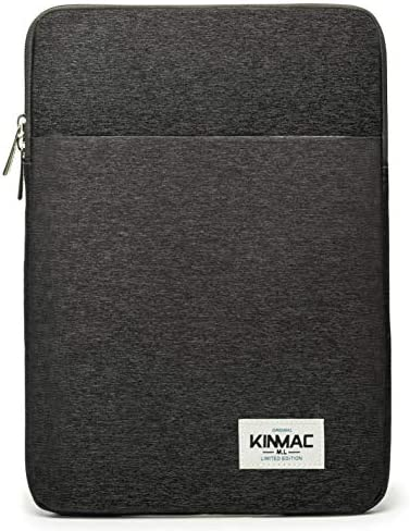 Kinmac Black 360 Protective Canvas Vertical Style Waterproof Laptop Sleeve with Pocket for iPad product image
