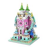 EWWEEQQ Edificio de casa Modular 1712 Bloques campanario Noria Arquitectura Europea con Reloj dinámico Modelo Creativo de Arquitectura DIY Compatible con Lego Ideas 21318