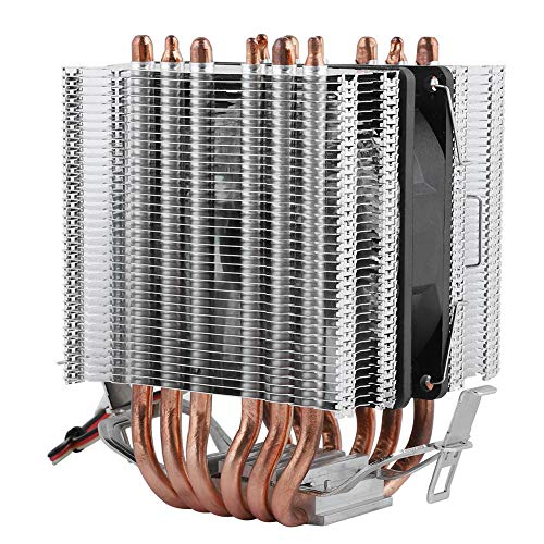 Vbestlife1 Ventiladores de CPU de computadora, 6 Ventiladores de disipador de Calor de CPU portátil Heatpipe, 48CFM 22dBA Super Silent GPU Radiat Fan, para LGA 1156/1155/1150/775 (9x9x2.5cm)